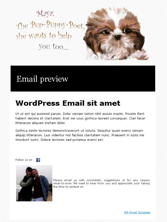 WP Email Template example